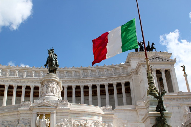 Italian flag at half mast for the earthquake and the bombing