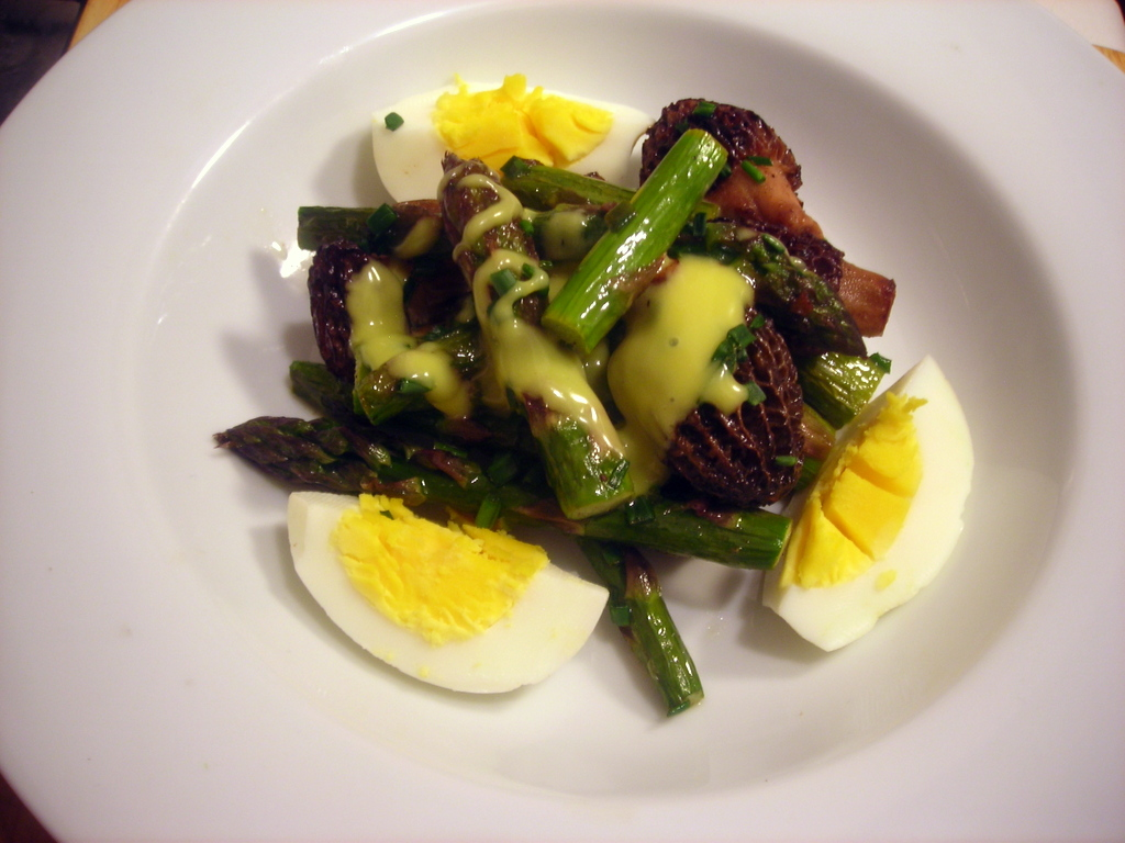 Asparagus and morel mushroom salad, homemade mayonnaise, hard cooked wild turkey eggs
