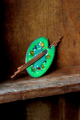 enamel & copper brooch by denise carbonell