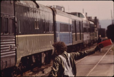 The Mount Rainier passenger train being directed enroute from Seattle, Washington, to Portland, Oregon, June 1974