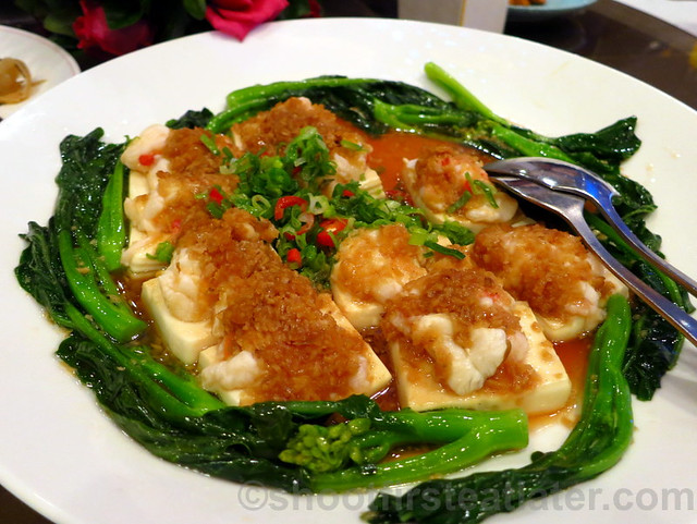 steamed lobster and bean curd with garlic