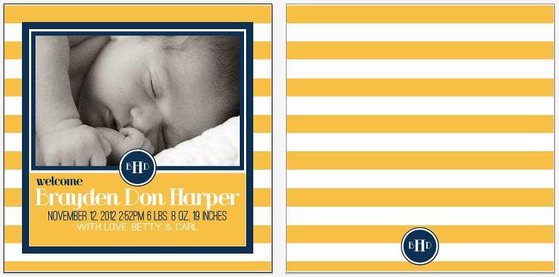 birth announcement yellow stripe