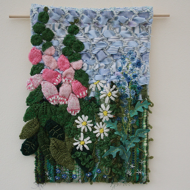 Textile Hanging - Foxglove and Daisies