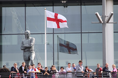 Bobby Moore statue and Flag