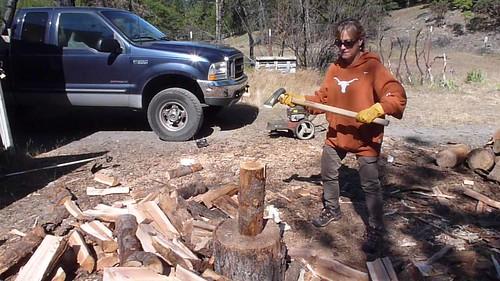 5-26-12 CA - Ruth Lake 37 Bruce chopping wood