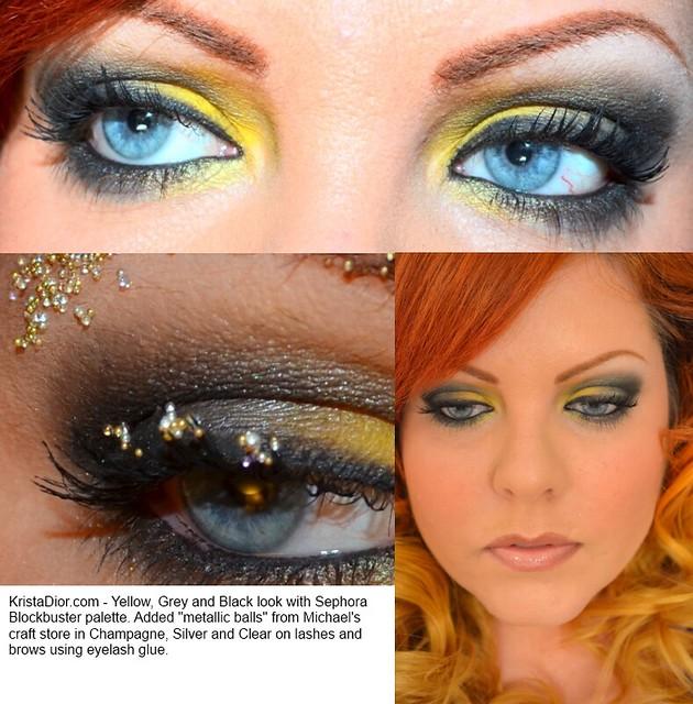 Smoky eye using yellow, black and grey with micro balls