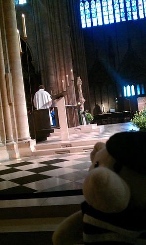 Attending mass at Notre Dame