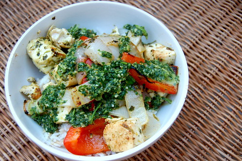 Citrus Tofu with Peppers and Onions
