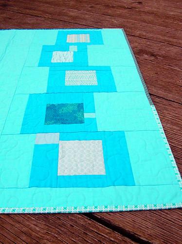 Blue squares quilt back