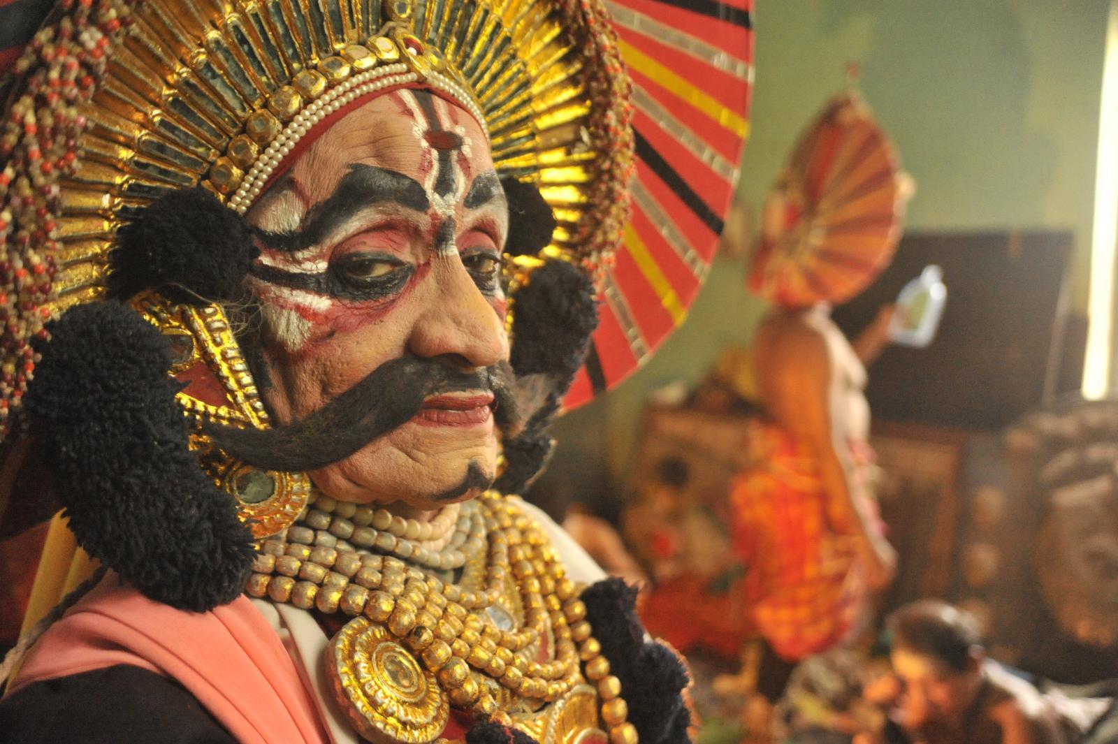 Waiting to enter the arena. Yakshagana, Kichaka Vadha