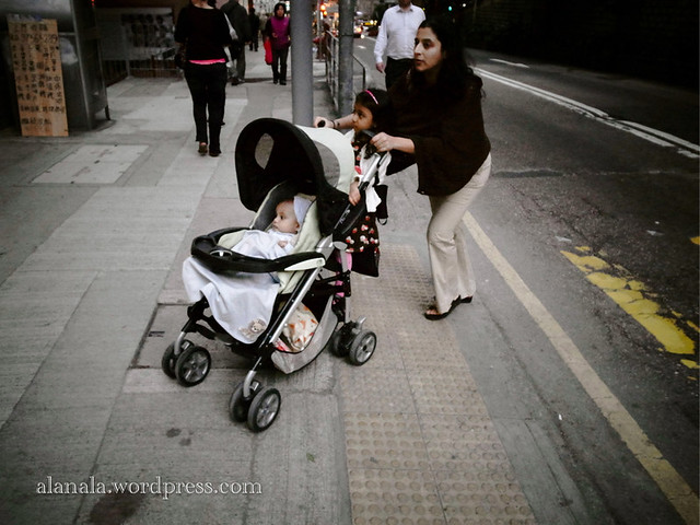 Family with baby trolley