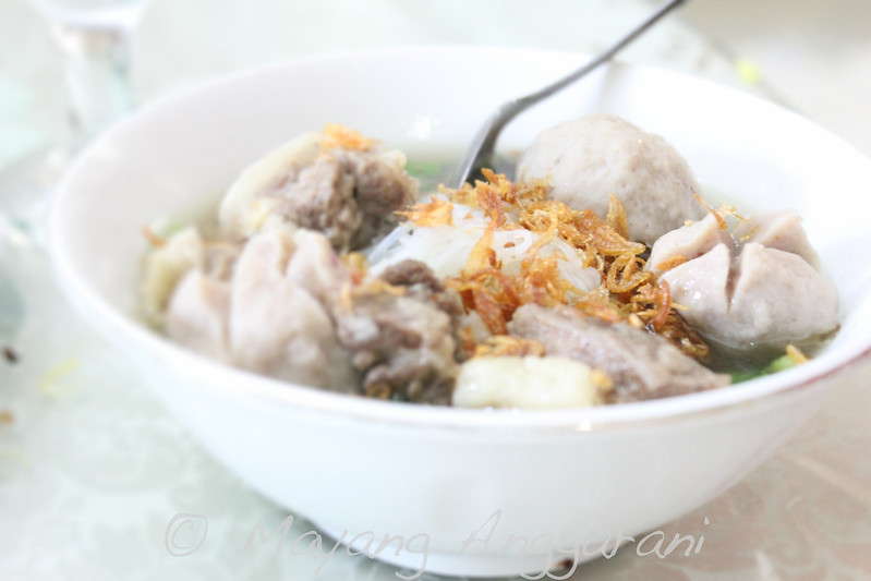 My mom's best's glass noodles and beef's marrow infused broth with meat balls
