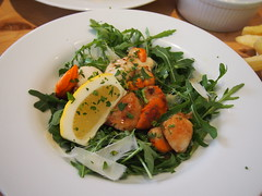 Seared Scallops on rocket salad with shaved Parmesan