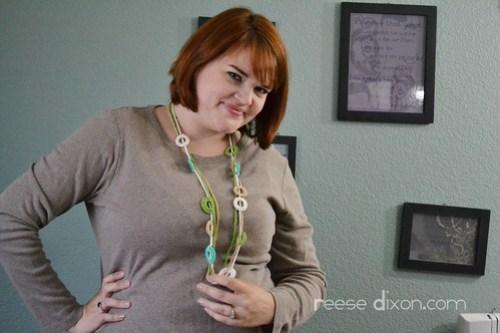 Wearing my crochet necklace