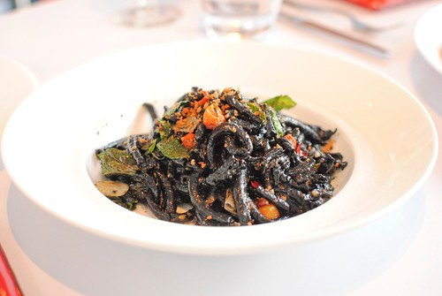 bottarga squid ink bucatini, calabrian chile, mint, cherry tomatoes