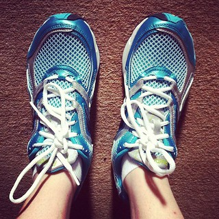 Me and my new very turquoise trainers are hitting the gym.
