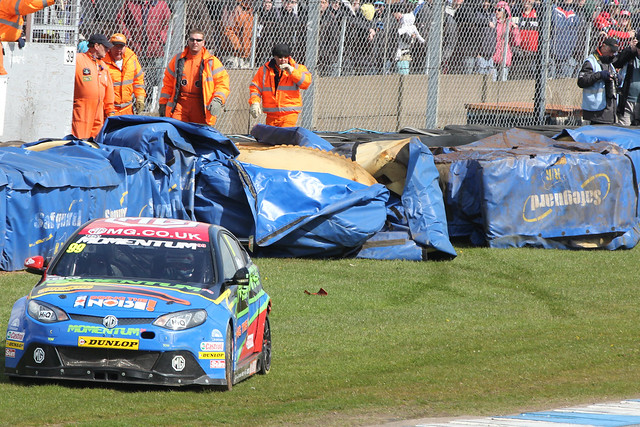 Jason Plato's damaged car in BTCC in Donington Park, April 2012