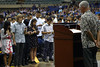 """UH Manoa Civil Engineering Professor Roger Babcock administers the customary Obligation of the Engineer oath to the new graduates at 2016 Spring College of Engineering Convocation at the Neil Blaisdell Arena on May 13, 2016.  For more photos go to: <a href=""""https://www.flickr.com/photos/eaauh/sets/72157668405830766"""">www.flickr.com/photos/eaauh/sets/72157668405830766</a>"""