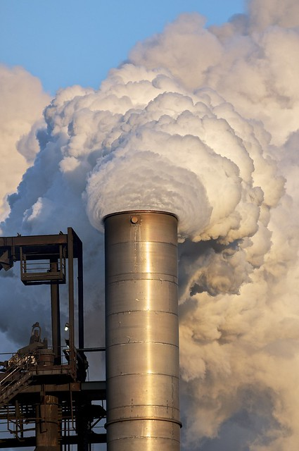 number seven blast furnace smokestack