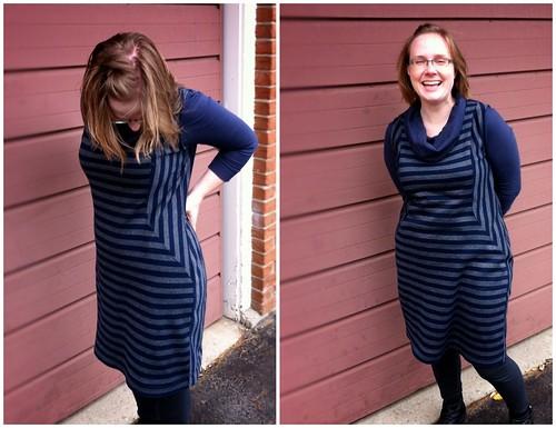 Go Anywhere dress in sweatshirt stripes