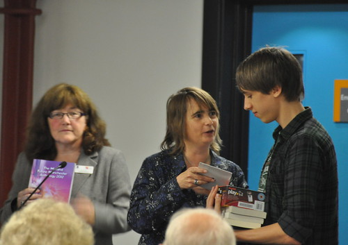 Kaye Tew and Cathy Bolton with short story winner Josh