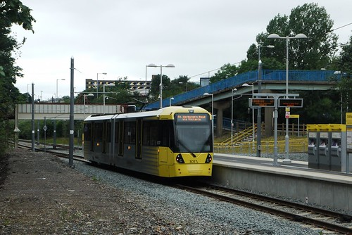 Oldham Mumps Metrolink station and Flexity Swift M5000 3017