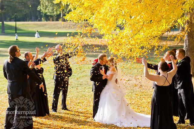 throwing leaves fall wedding