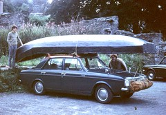 Aran currach on car roof