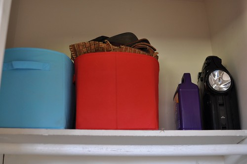 bins at top of closet
