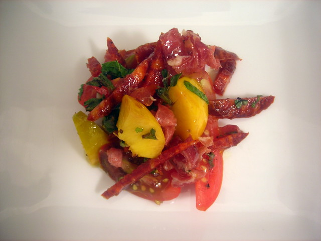 Tomato and stone fruit salad, with Spanish chorizo and prosciutto crudo