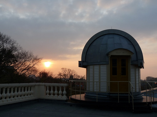 Sunset and a small observatory