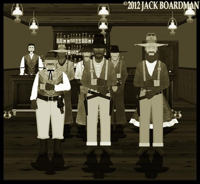 Bulgebottom and friends at the Murdo Saloon ©2012 Jack Boardman
