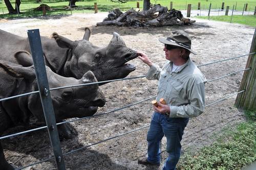 Ranch Co-Owner Lex Salisbury and Rhinos, Giraffe Ranch, Dade City, Fla.