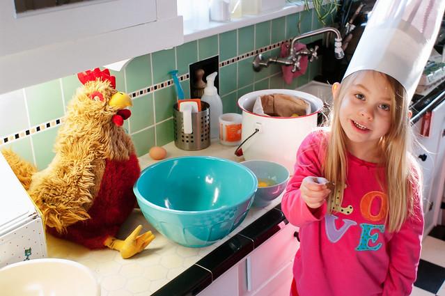 sadie and chickener in kitchen 1