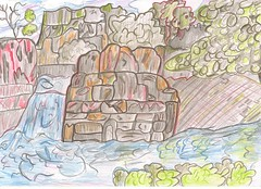 Rocky Cliffs Sketch Colour