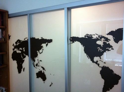 World Map Vinyl on Sliding Doors