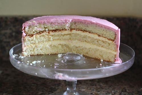 layers of peach melba cake