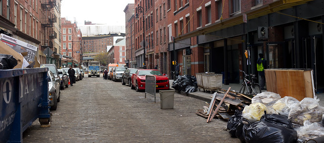 The cobblestone alleys of South Street Seaport.