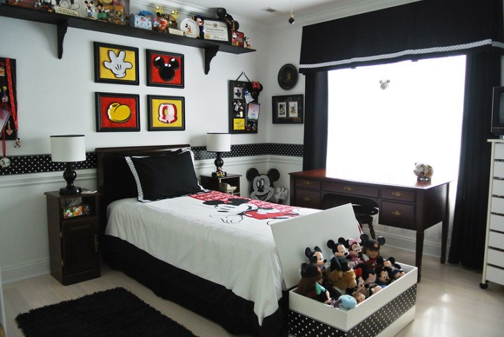 Disney Inspired Rooms Modern Mickey Mouse Bedroom with Floating Shelves and Wall Art
