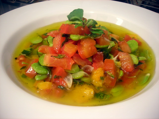 Fava bean and heirloom tomato ragoût