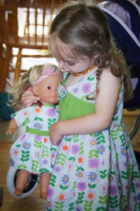 Willa and her baby... Matching dresses!