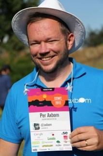 Per Axbom visar upp sin badge på Sweden Social Web Camp