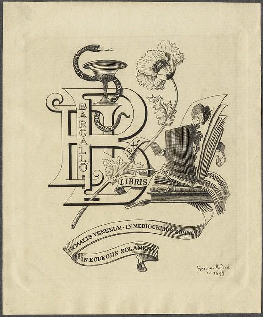 bookplate estilizado: a desordem do abstraído carta, fotos, livros, flores e uma fita