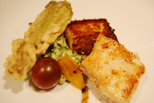 Halibut with deep fried zucchini flower and pesto ricotta