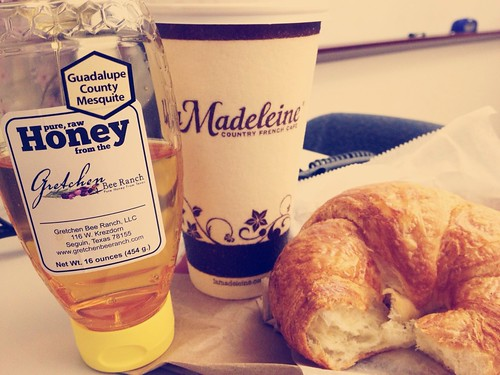 Croissant coffee and honey