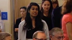 Faria Kamal - Doctor and medical student interrupt Minister Joe Oliver at press conference - pix 02