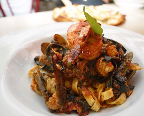 Fisherman's Seafood with Black Ink Pizza at Tuscano Italian Wood Oven Pizza & Restaurant