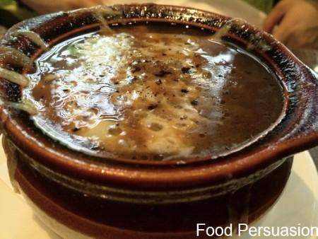 French onion soup, crouton-less