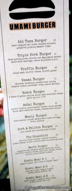 Umami Burger-burger menu