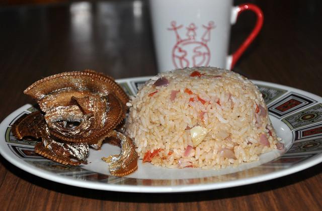 Ginisang Buro Rice with Crispy Fried Espada